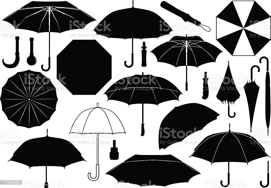Black and white umbrella images against white background vector art illustration