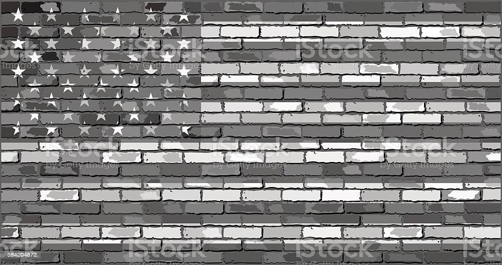 Black and white USA flag on a brick wall vector art illustration