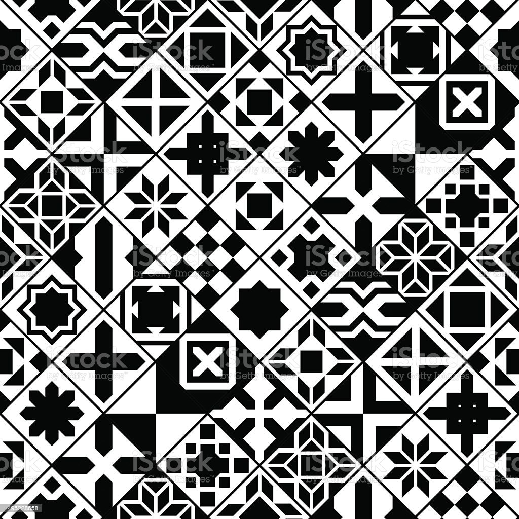 Black and white various moroccan tiles seamless pattern, vector vector art illustration