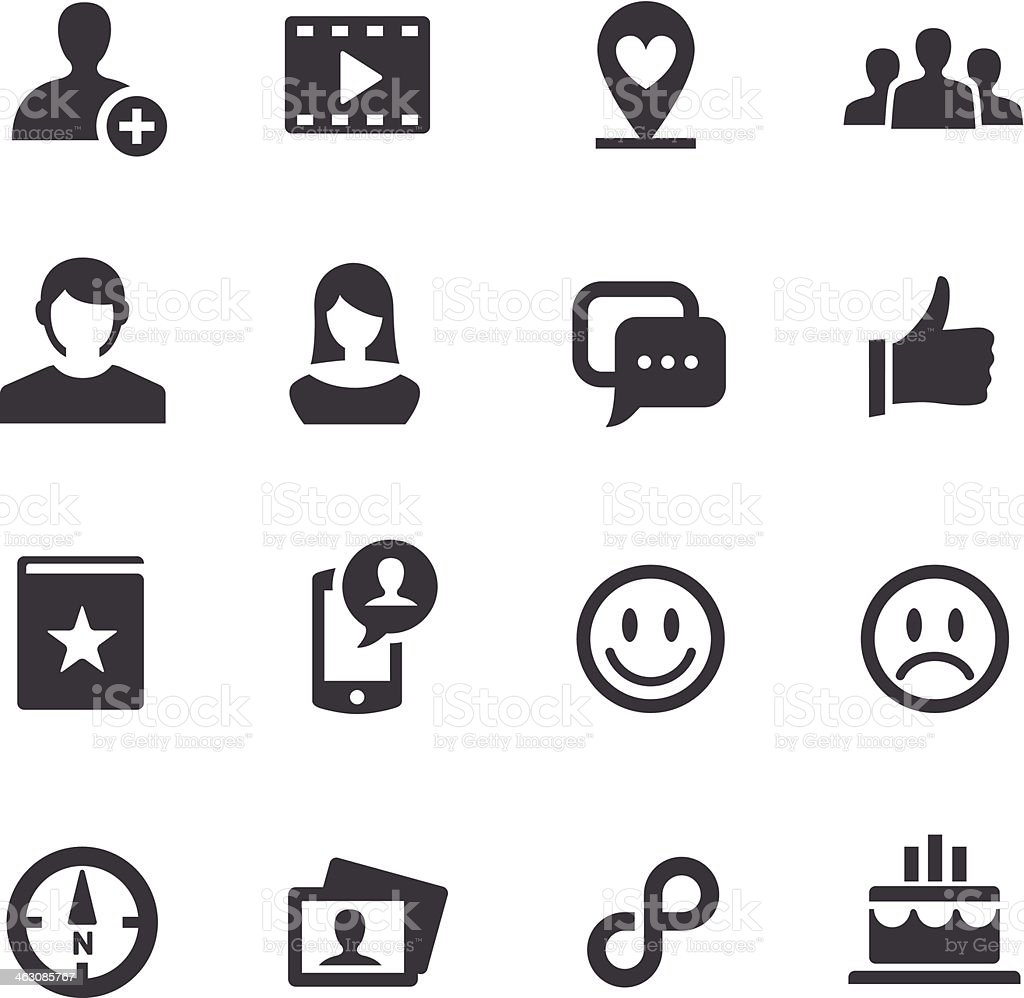 Black and white various social media icons vector art illustration