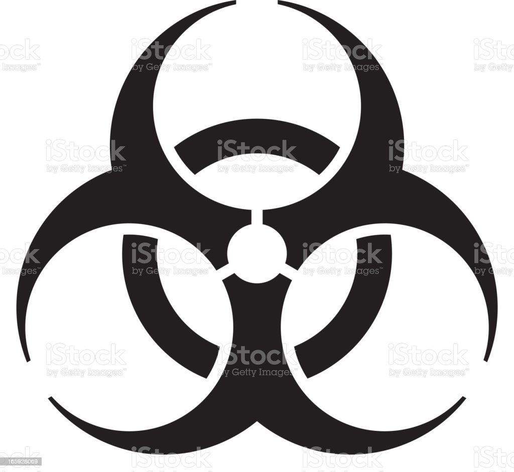 A black and white vector biohazard symbol vector art illustration