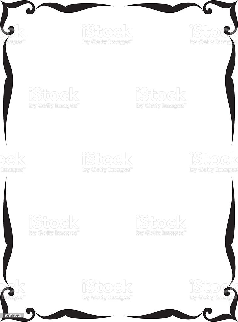 A black and white vector detailed frame royalty-free stock vector art