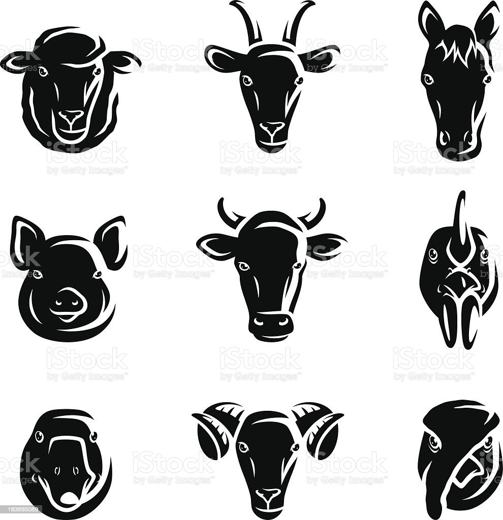 Black and white vector farm animal set royalty-free stock vector art