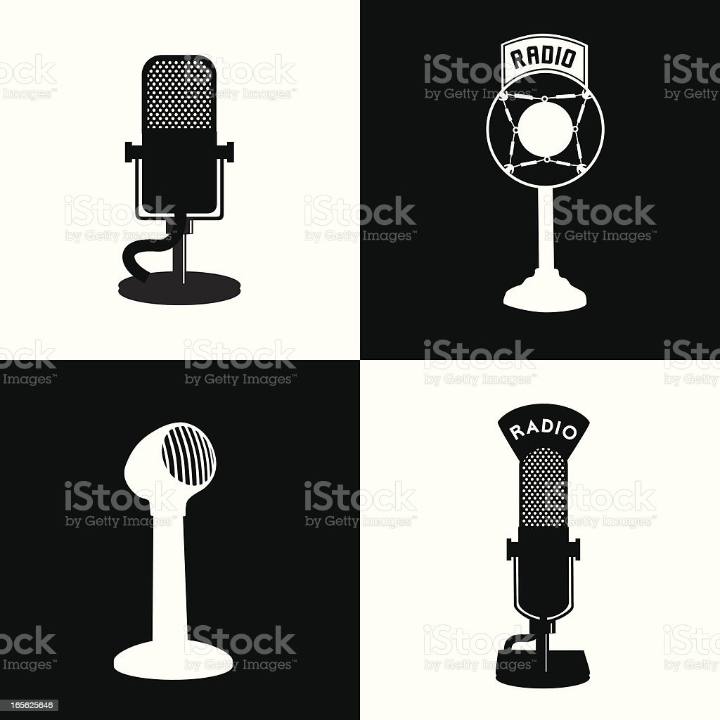 Black and white vector graphics of radio related equipment vector art illustration
