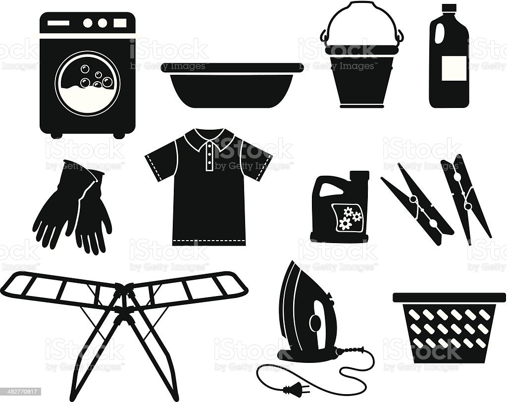 Black and white vector icons of laundry equipment vector art illustration
