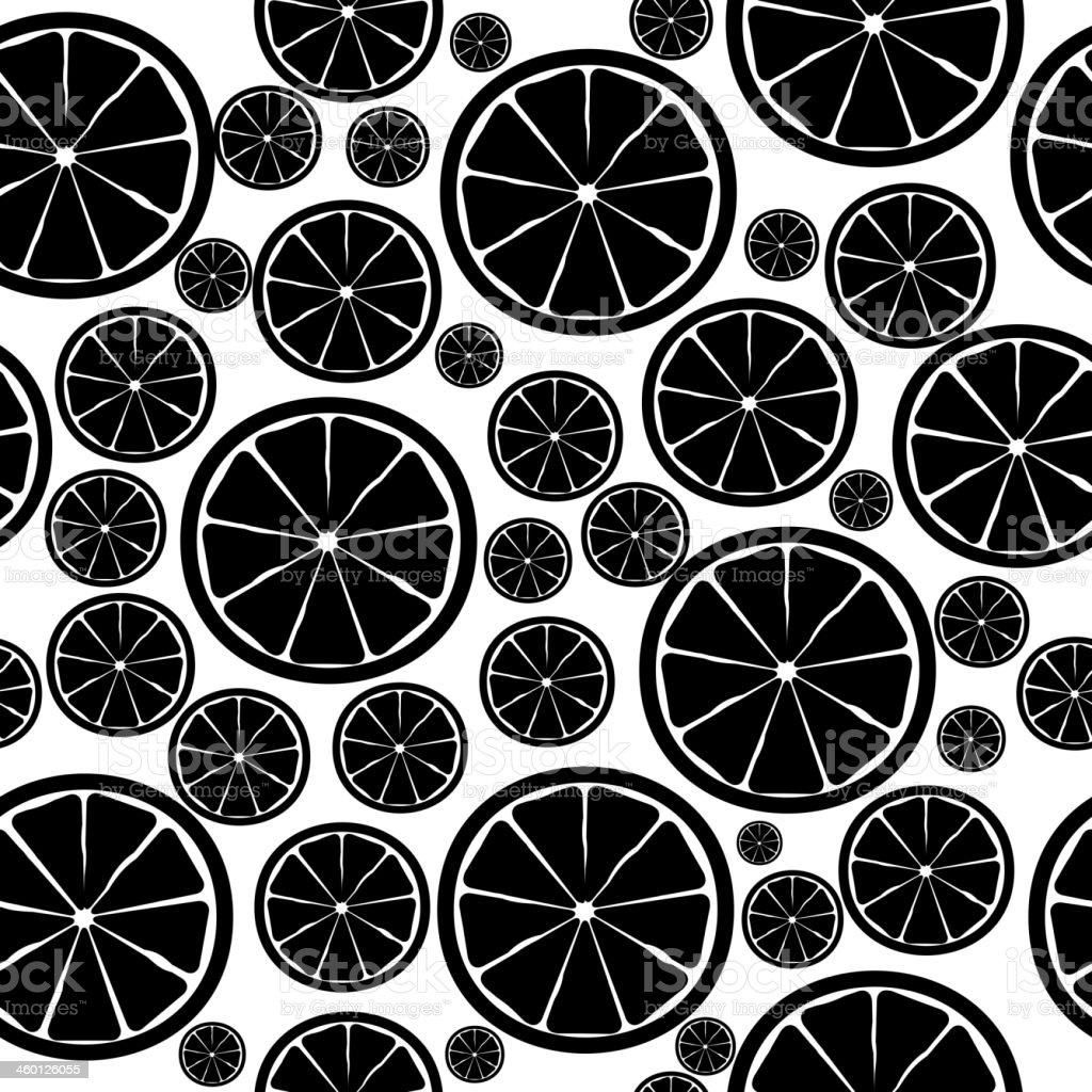 Black and white vector illustration of a citrus pattern royalty-free stock vector art