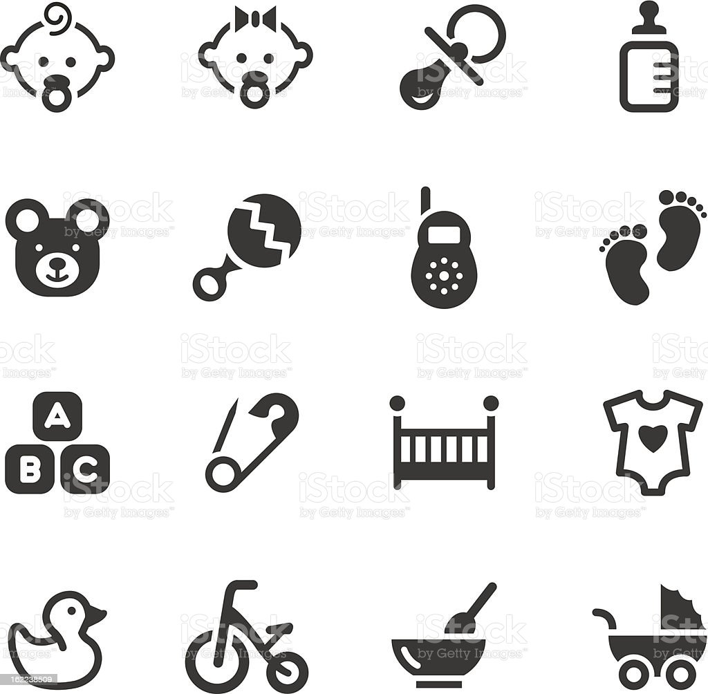 Black and white vector illustration of baby icons vector art illustration