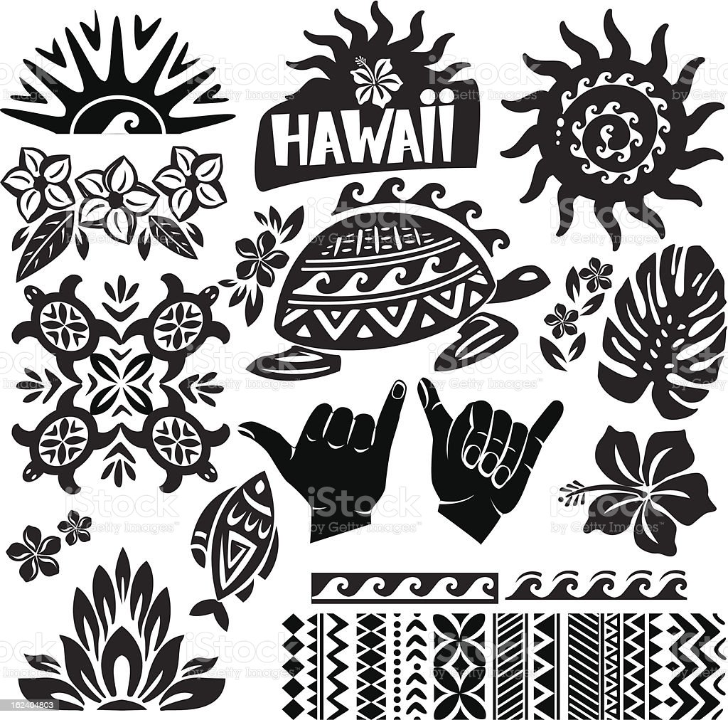 Black and white vector illustration of Hawaii vector art illustration
