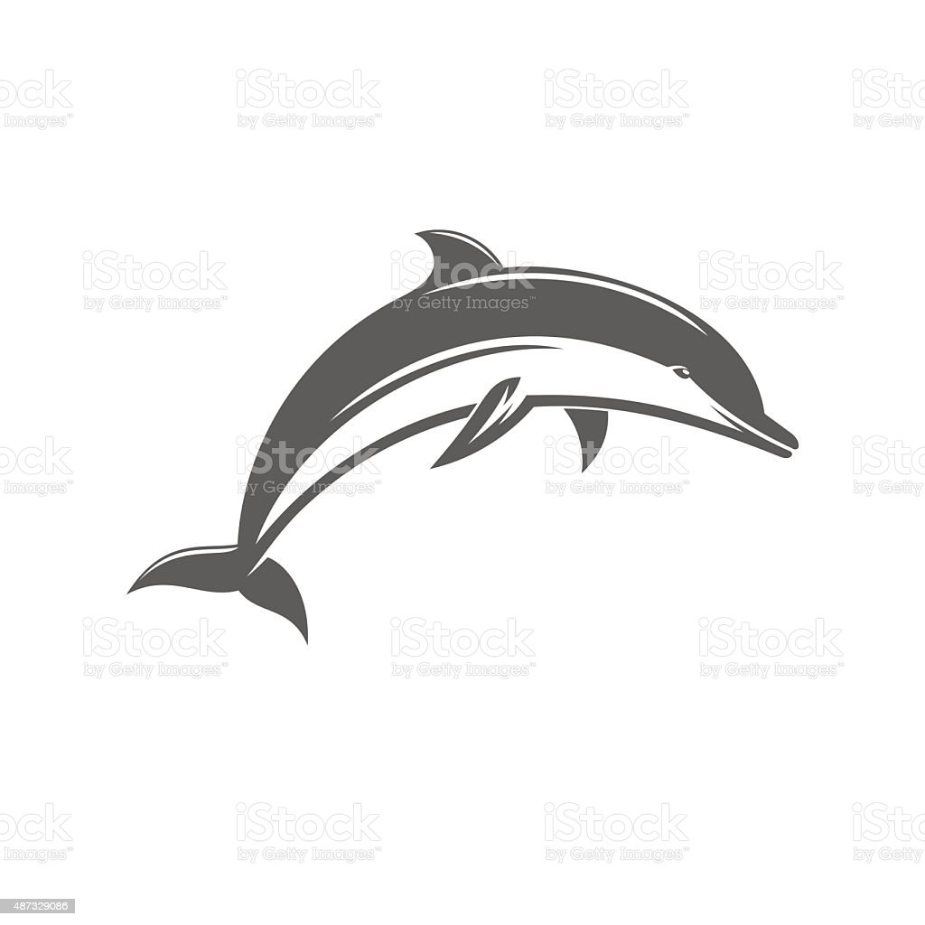 Black and white vector ilstration jumping dolphins vector art illustration