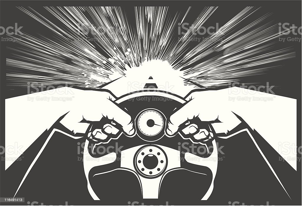 Black and white vector image of hands driving vector art illustration