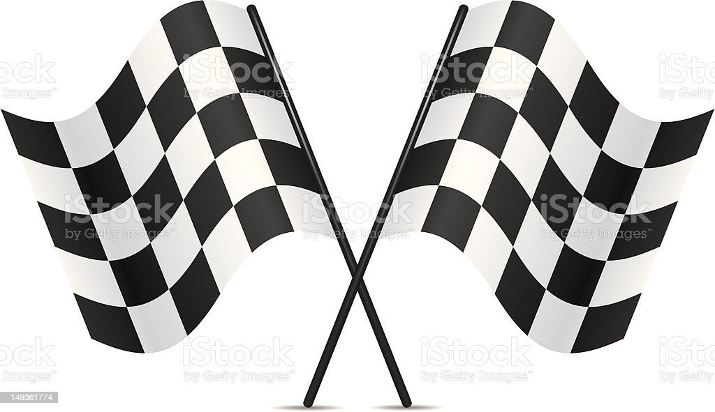 Black and white vector racing flags vector art illustration