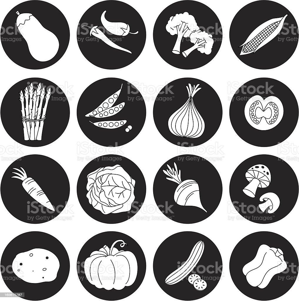 Black and white vegetable icon set vector art illustration