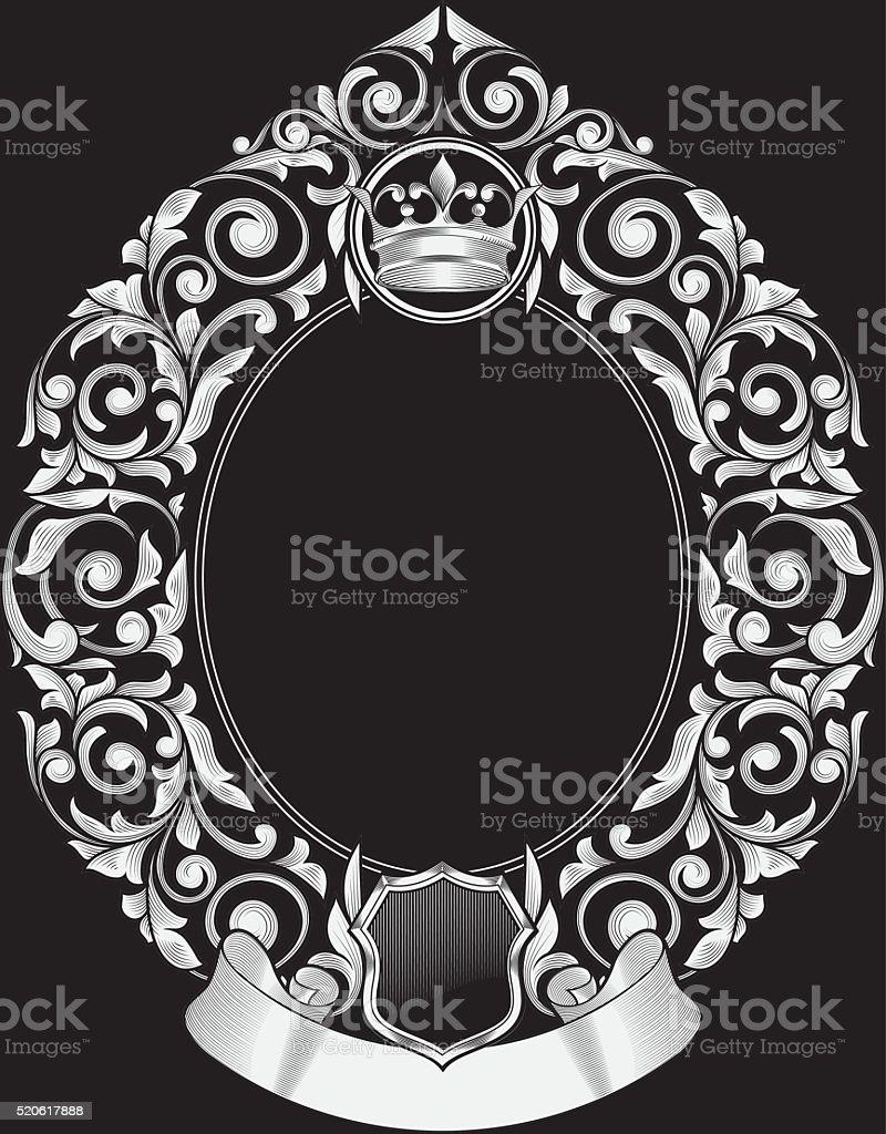 Black and white vintage decorative design vector art illustration