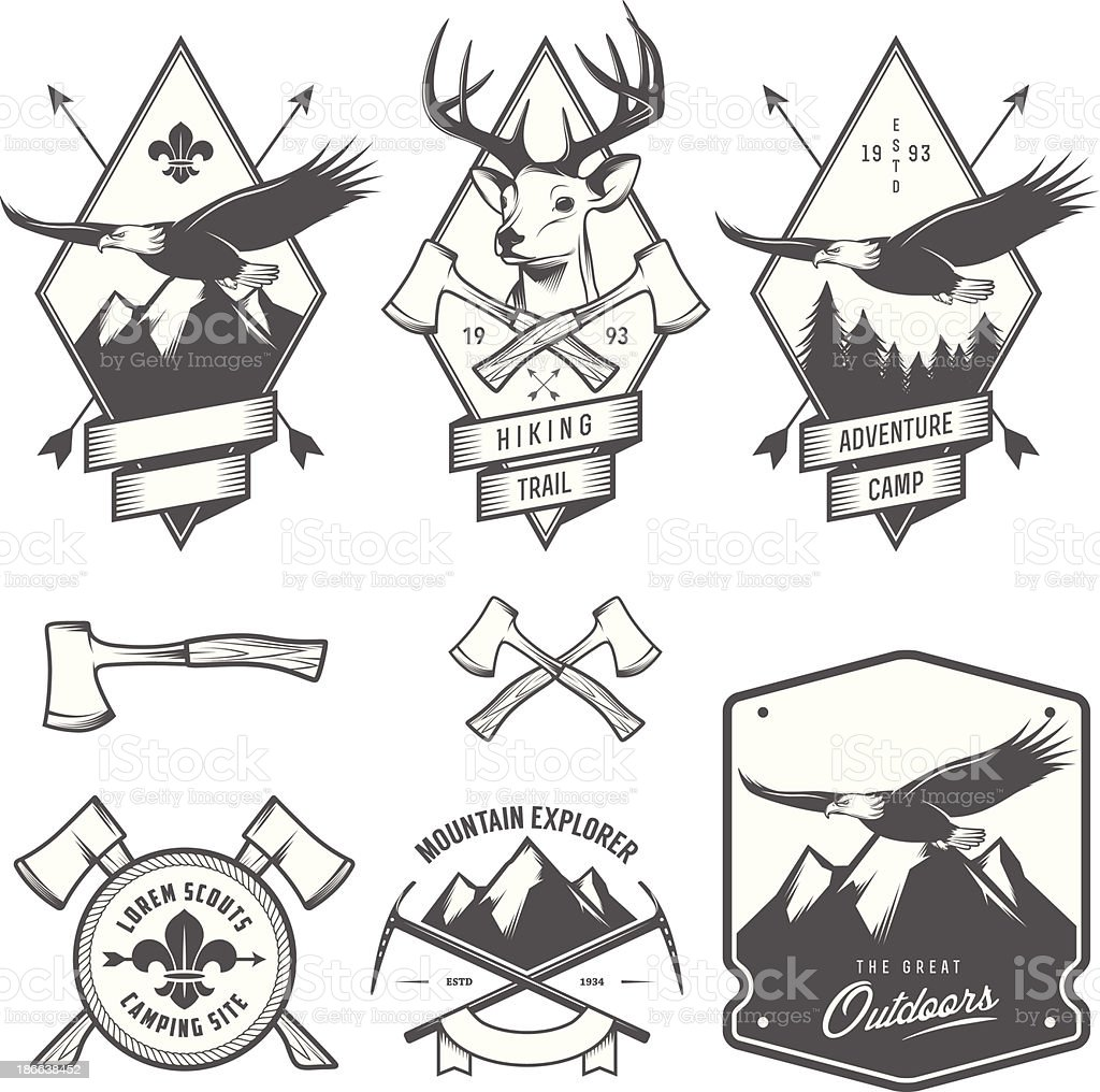 Black and white vintage hiking and camping labels vector art illustration