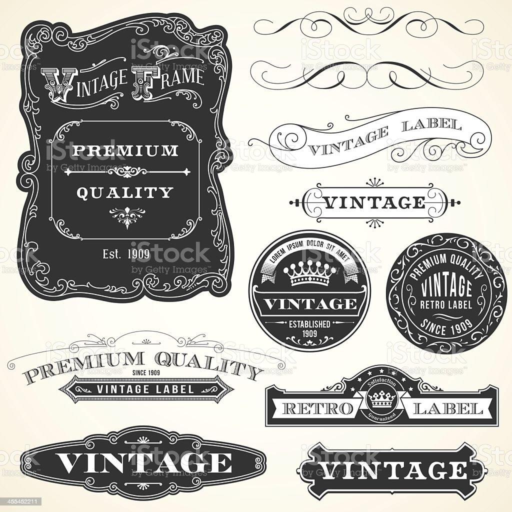 Black and white vintage labels vector art illustration