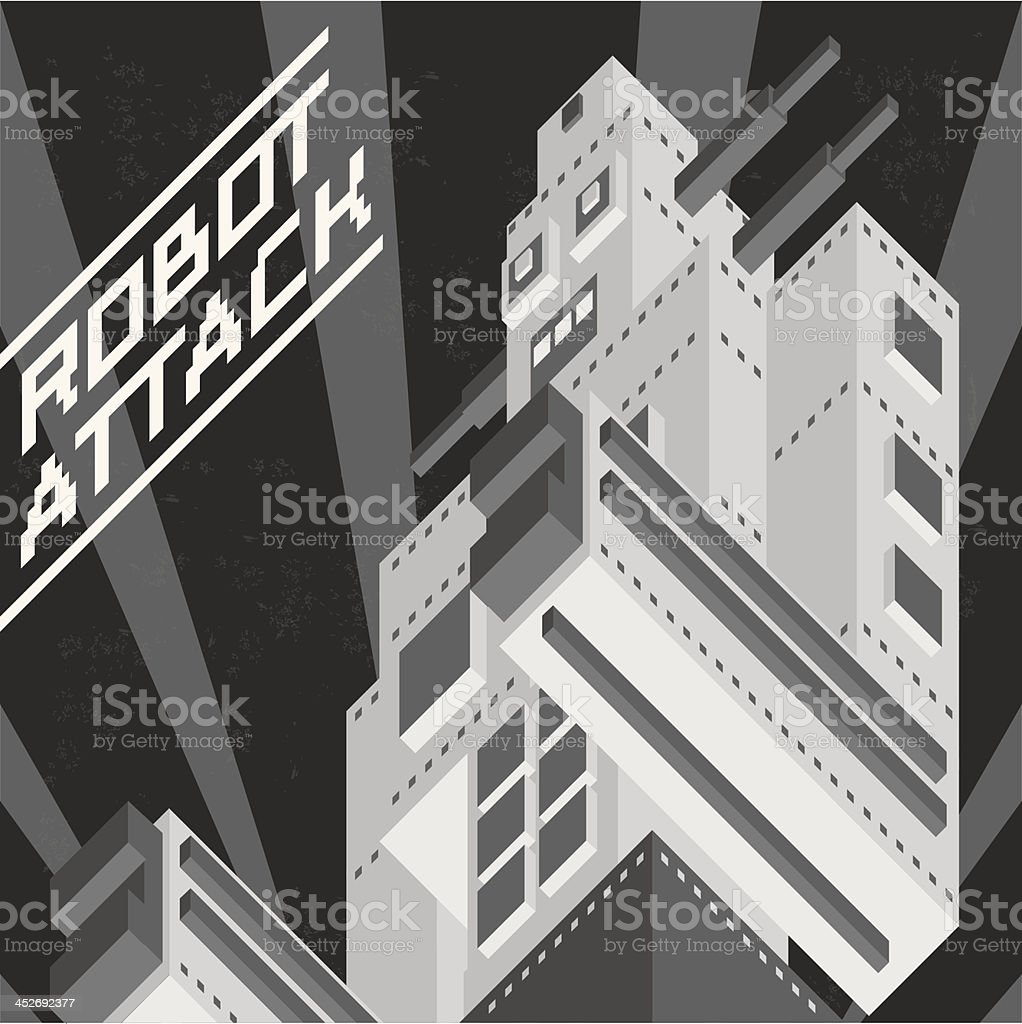 Black and white vintage robot royalty-free stock vector art