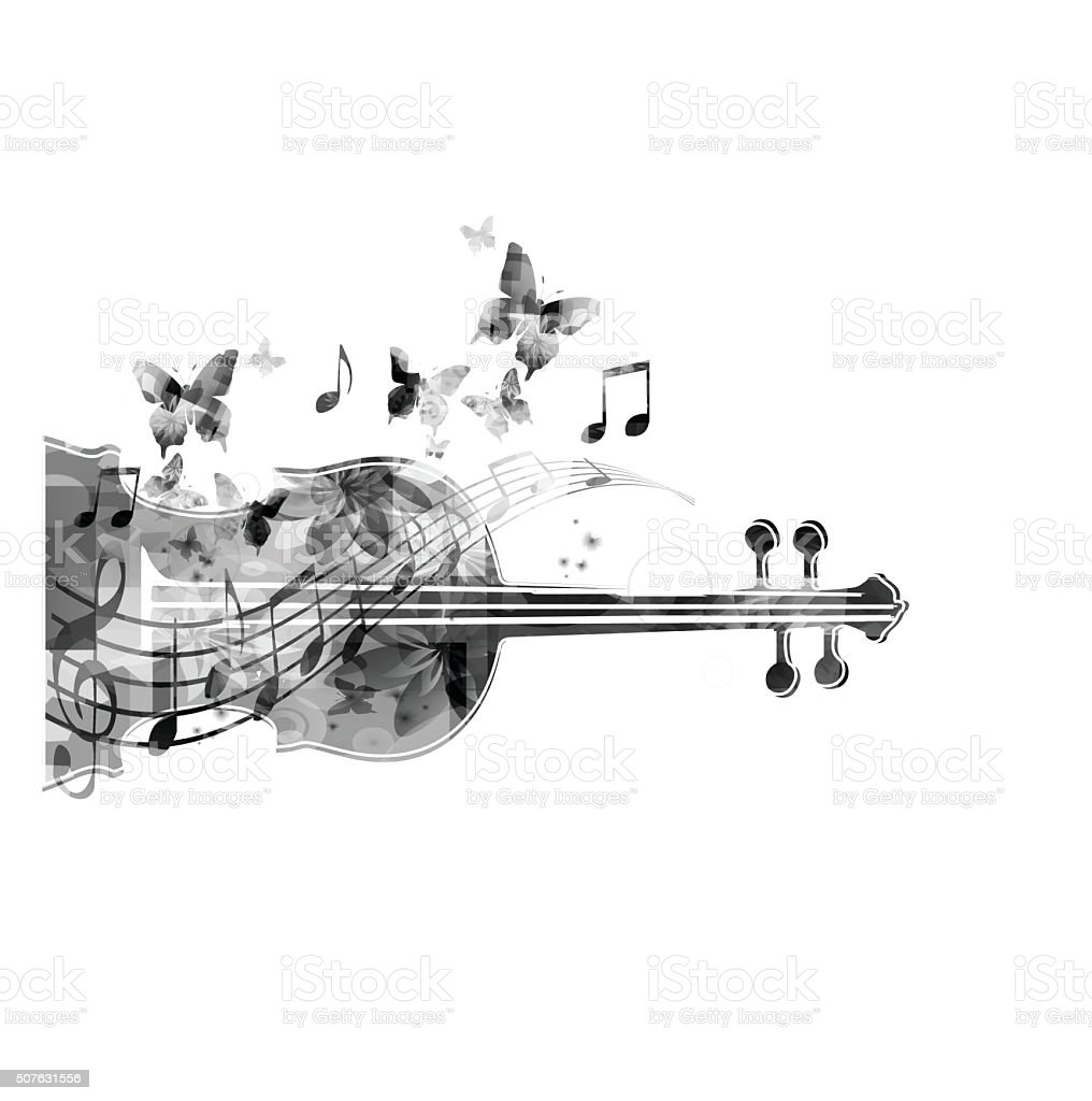 Black and white violoncello with butterflies vector art illustration