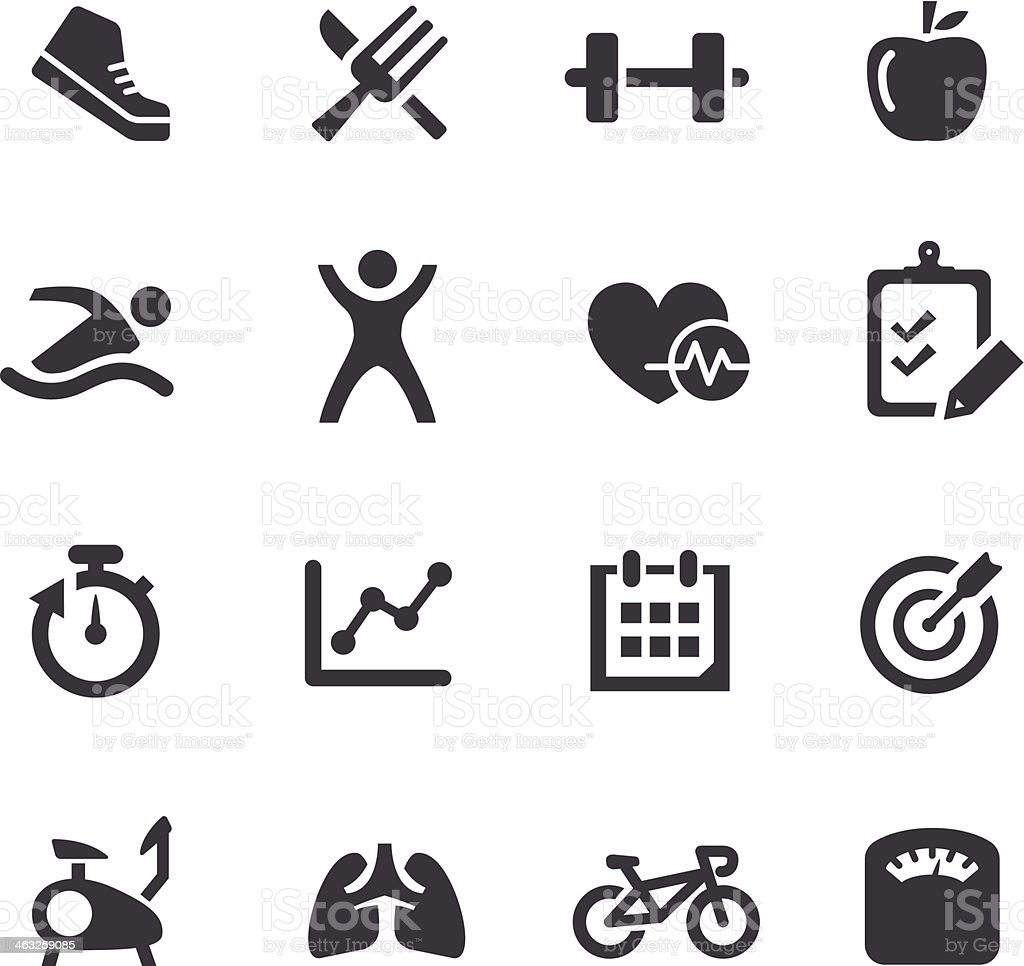 Black and white well-being icons vector art illustration