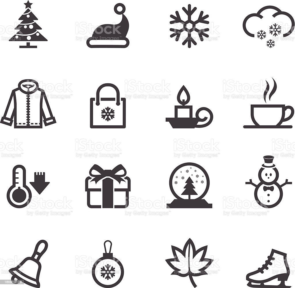 Black and white winter icons montage vector art illustration