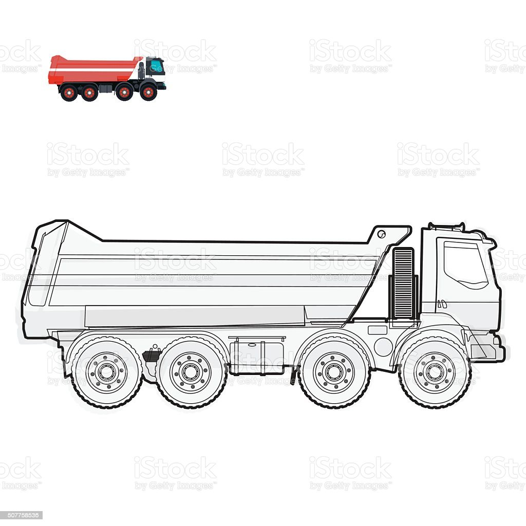 Black and white wire big truck builds roads on white. vector art illustration