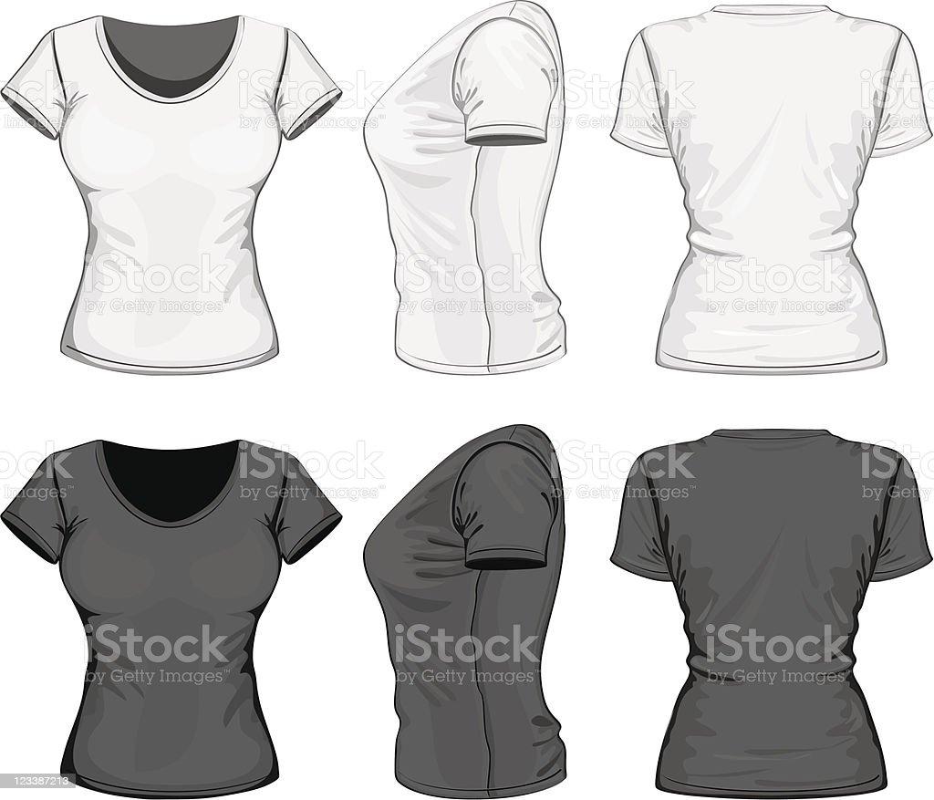 Black and white women's t-shirt design template vector art illustration