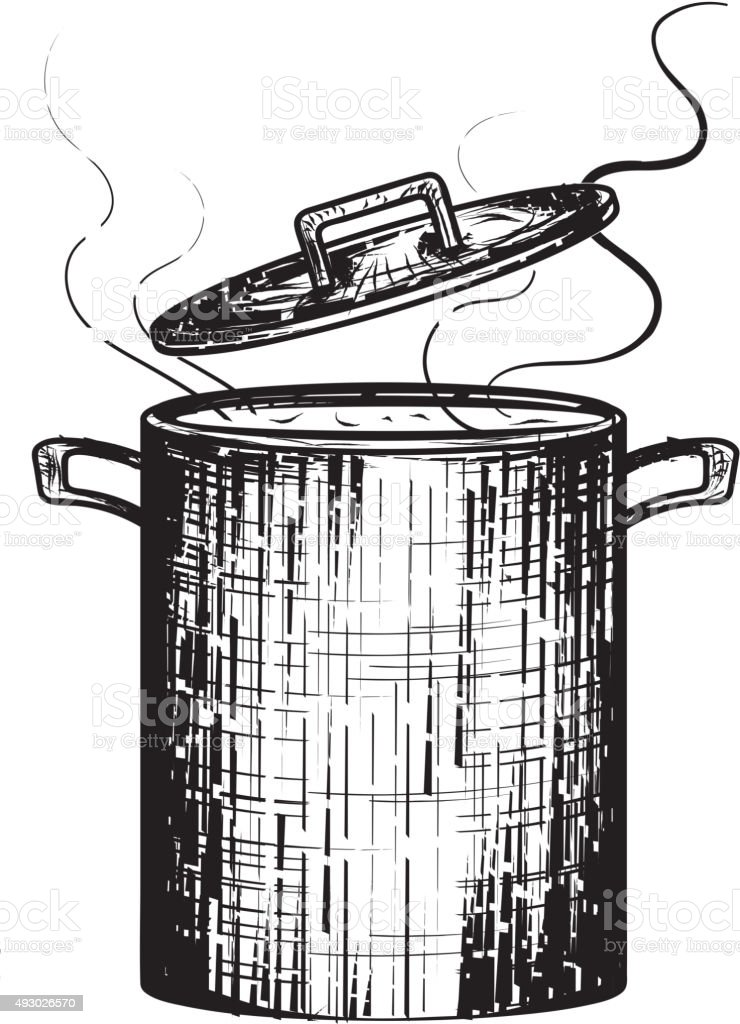 Black and white woodcut Soup Pot  simmering steam open lid vector art illustration