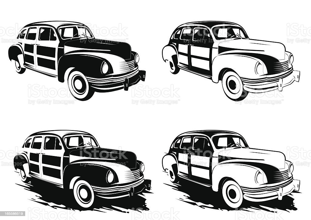 Black and white Woody car vector art illustration
