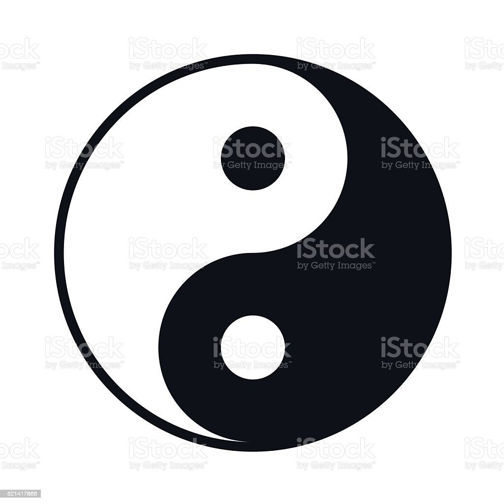 Black And White Yin Yang lIllustration - VECTOR vector art illustration