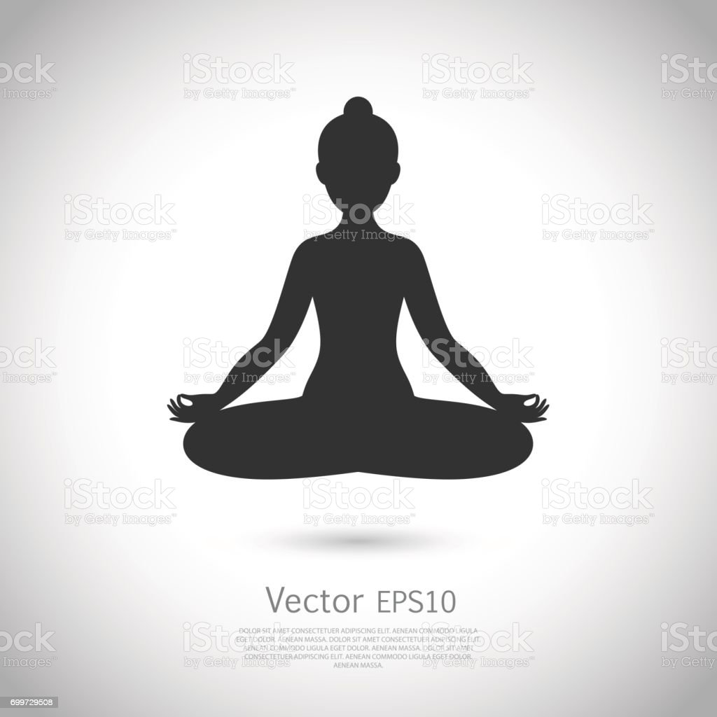 Black and white yoga icon. Vector vector art illustration