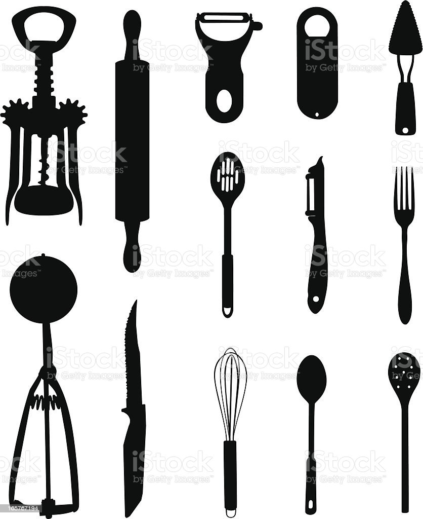 Black and whites images of kitchen tools vector art illustration