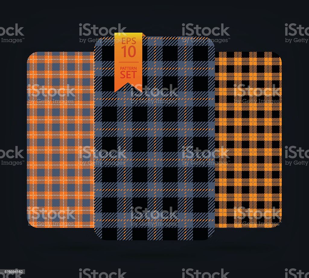 Black and yellow gingham Patterns vector art illustration