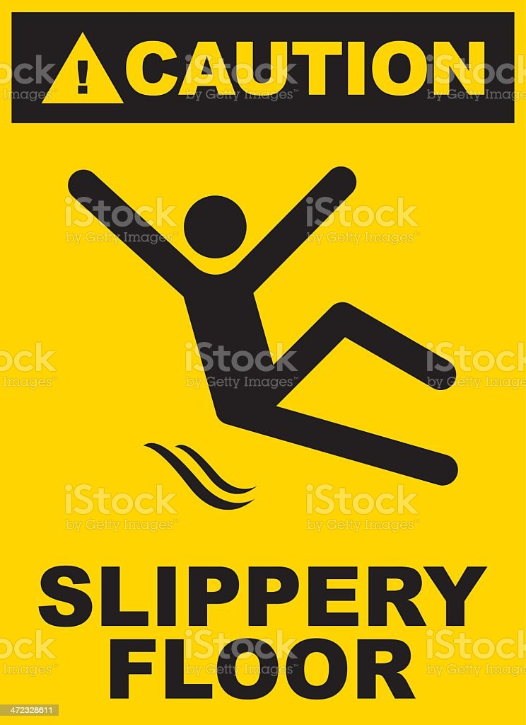 Black and yellow slippery floor sign royalty-free stock vector art
