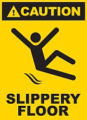 Black and yellow slippery floor sign