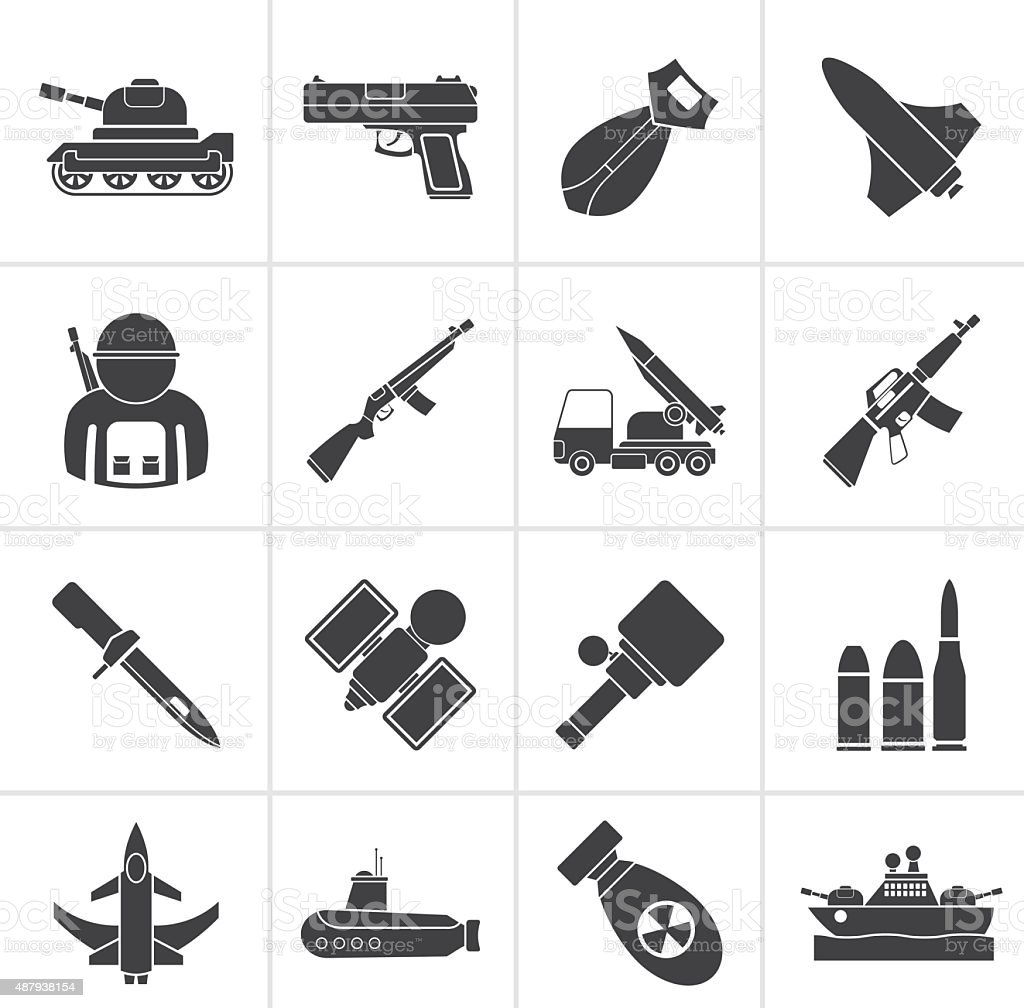 Black Army, weapon and arms Icons vector art illustration