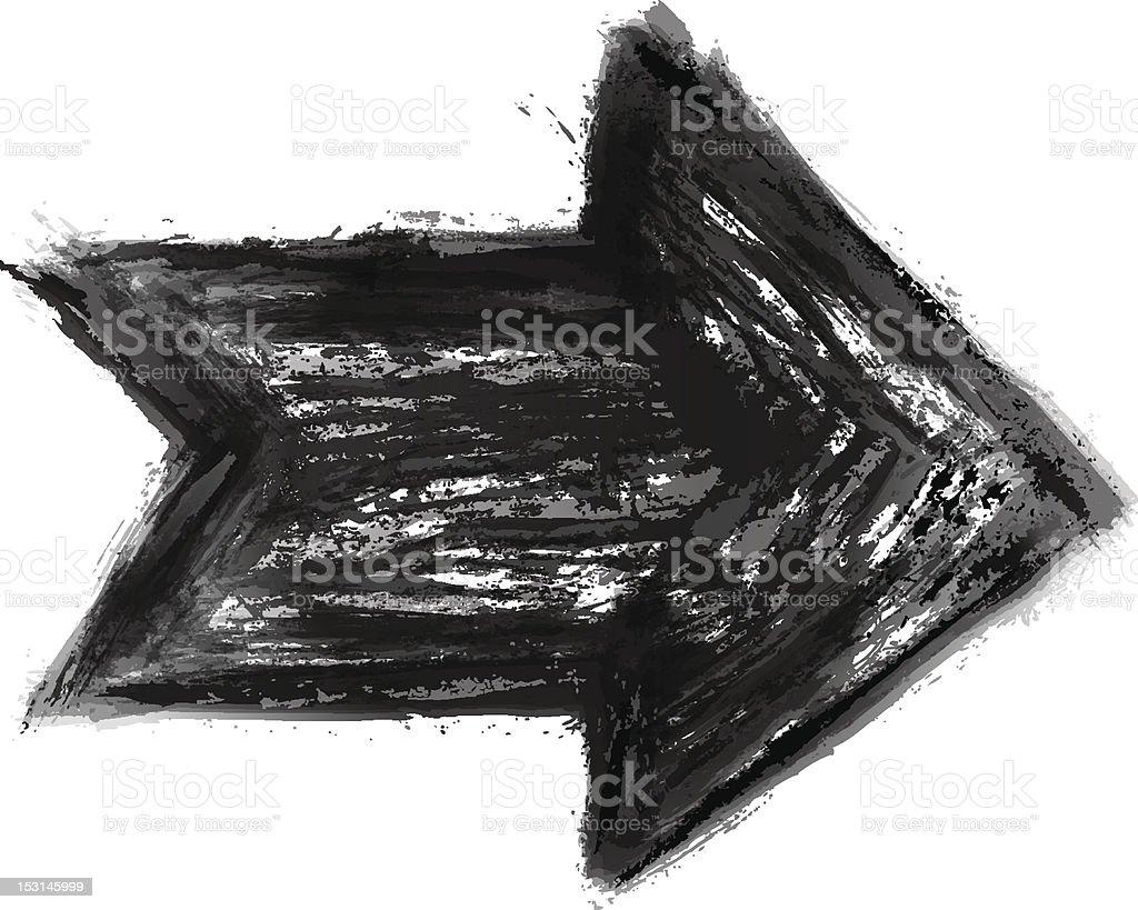 Black arrow. 1 credit. Ink sketch created watercolor brush stroke royalty-free stock vector art
