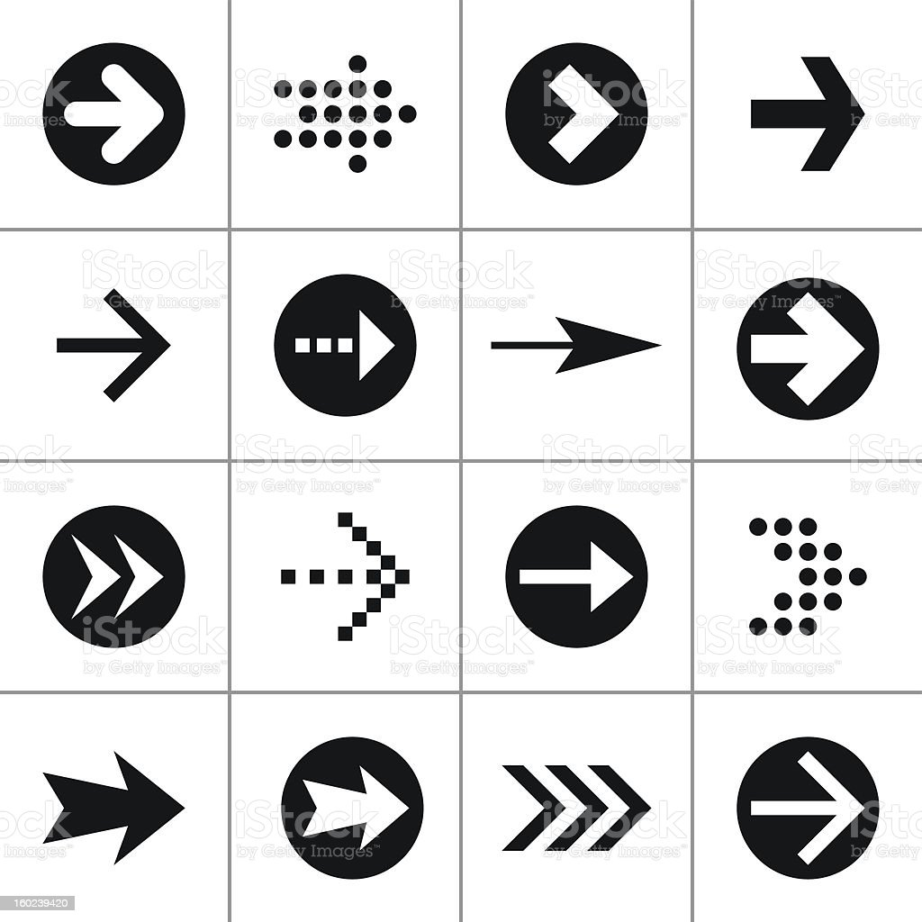 Black arrow 100 pictogram icon set simple mono minimal style royalty-free stock vector art