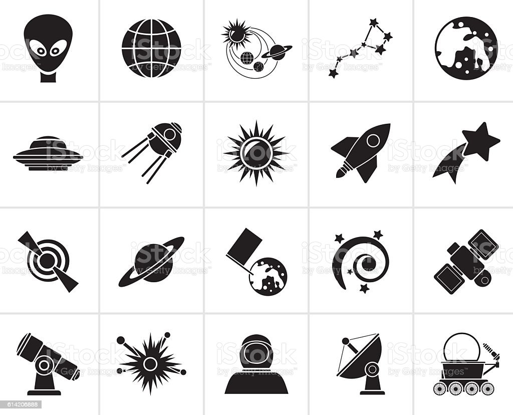 Black astronomy and space icons vector art illustration