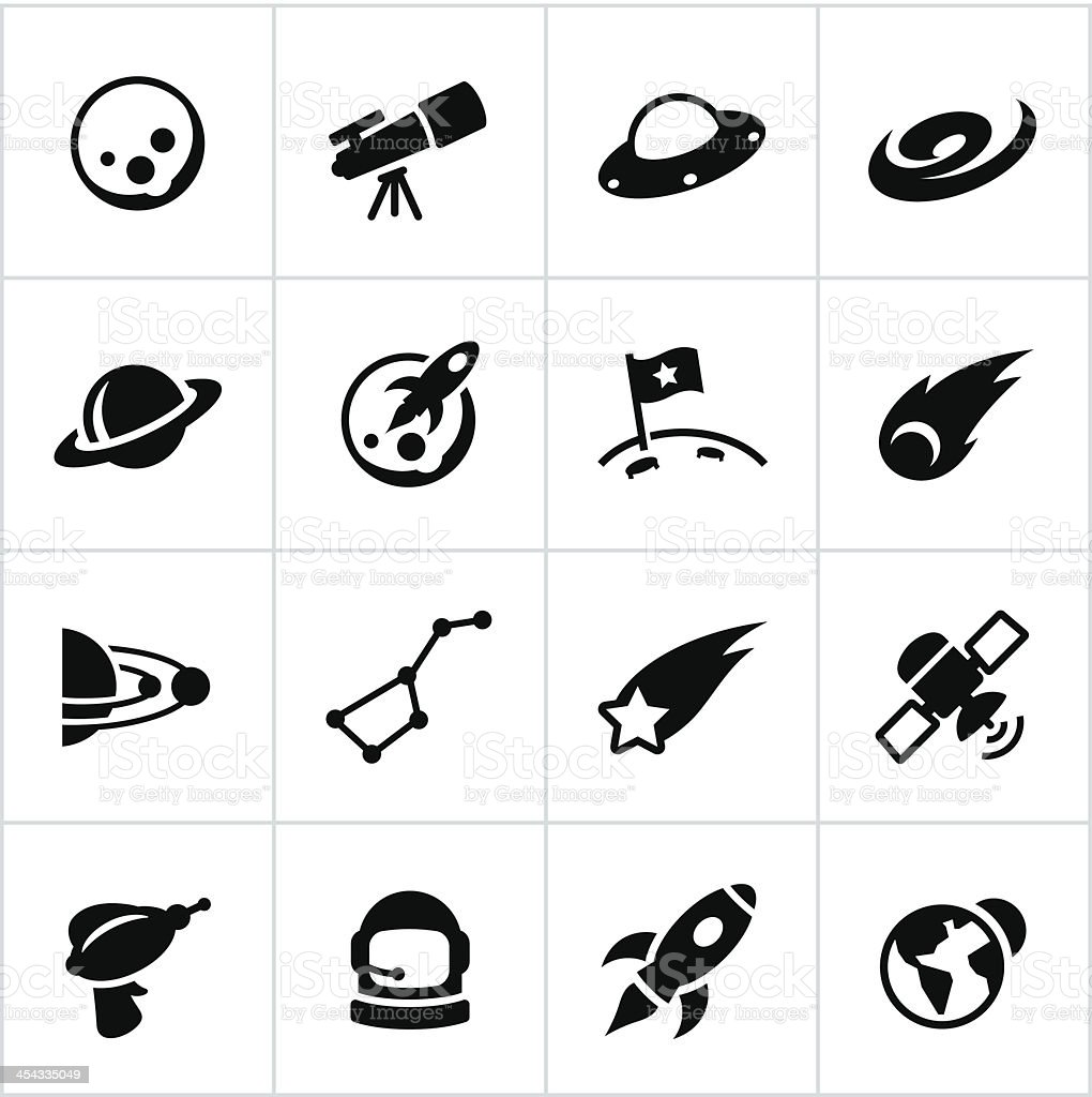 Black Astronomy Icons vector art illustration