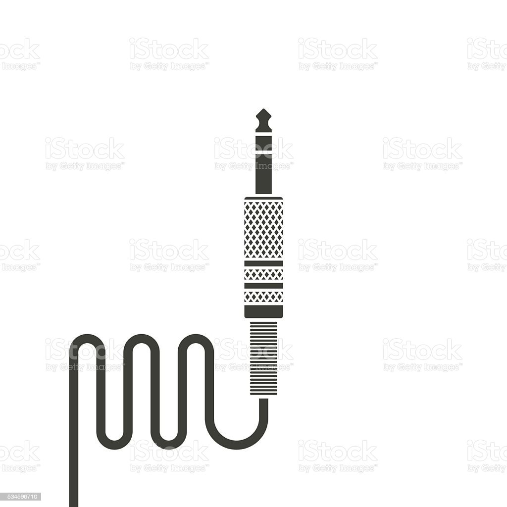Black audio jack cable wire vector vector art illustration