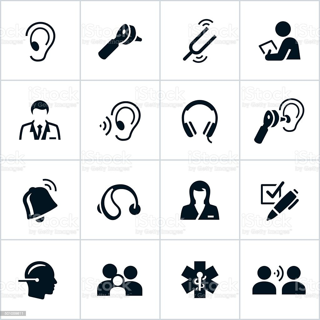Black Audiology Icons vector art illustration