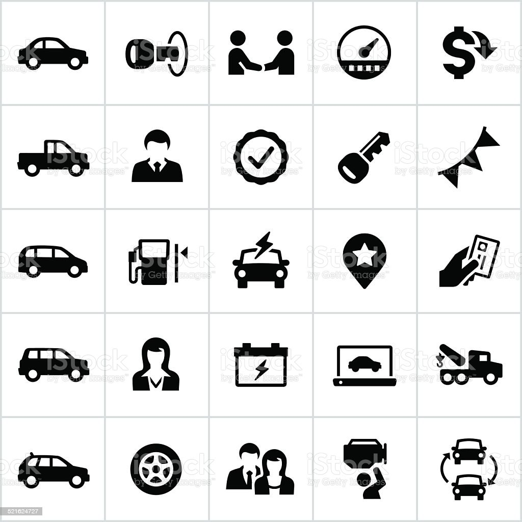 Black Auto Dealership Icons vector art illustration
