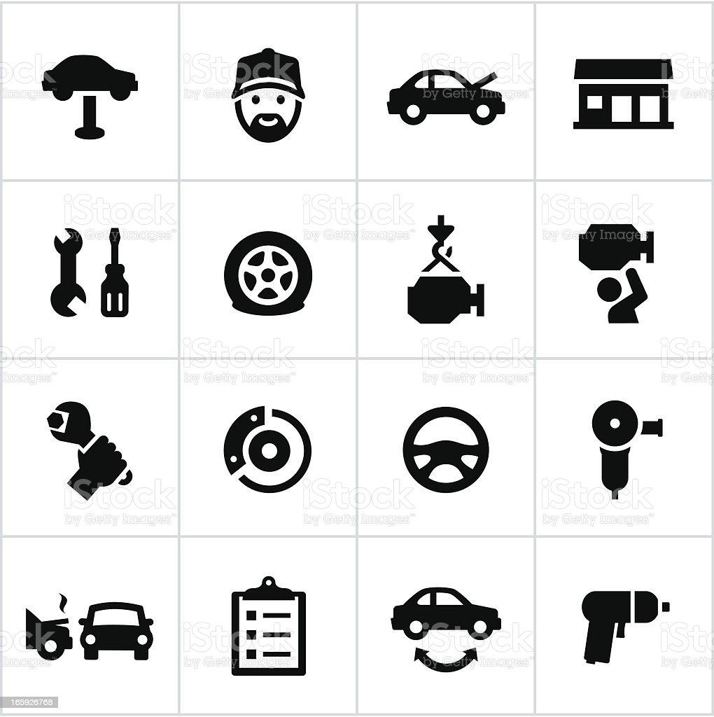 Black Auto Repair Icons vector art illustration
