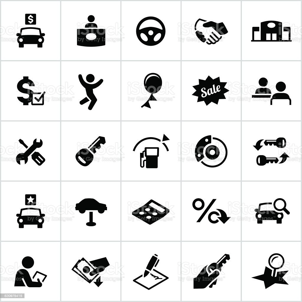 Black Automotive Sales Icons vector art illustration