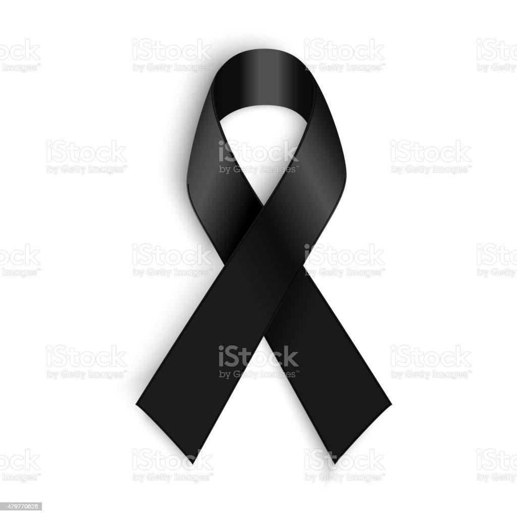 Black awareness ribbon on white background. Mourning and melanoma symbol vector art illustration