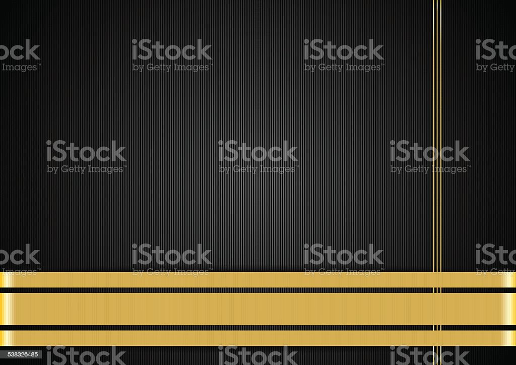 Black background with gold ribbons vector art illustration