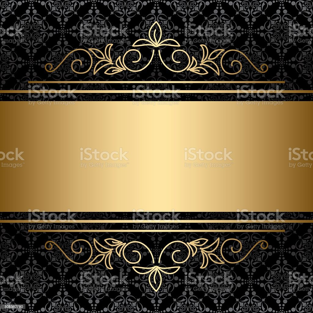 black background with golden decorations - vector vector art illustration