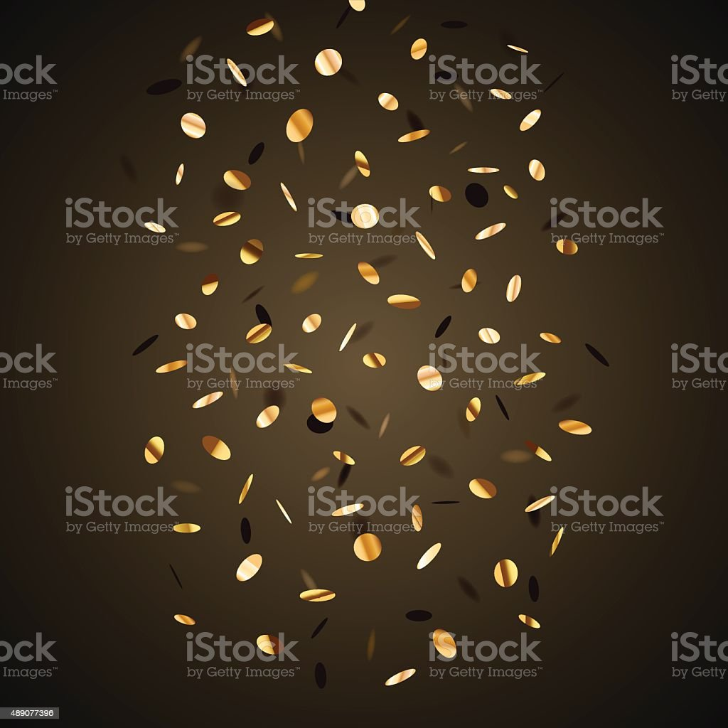 Black background with golden flying graphic elements. vector art illustration