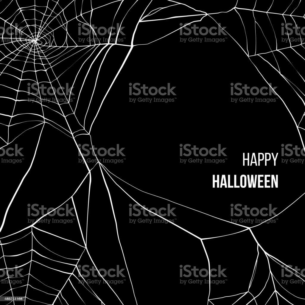 Black background with spider web vector art illustration