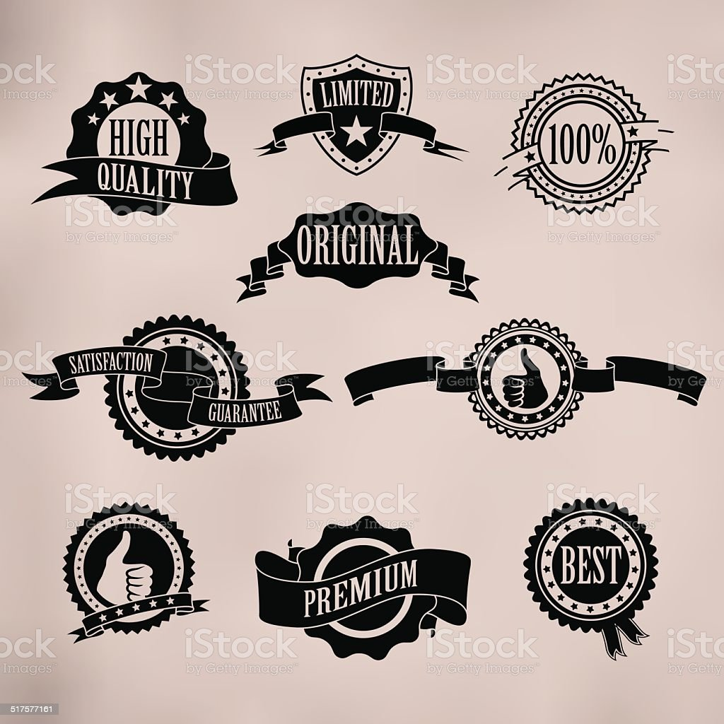 Black badges and ribbons vector art illustration