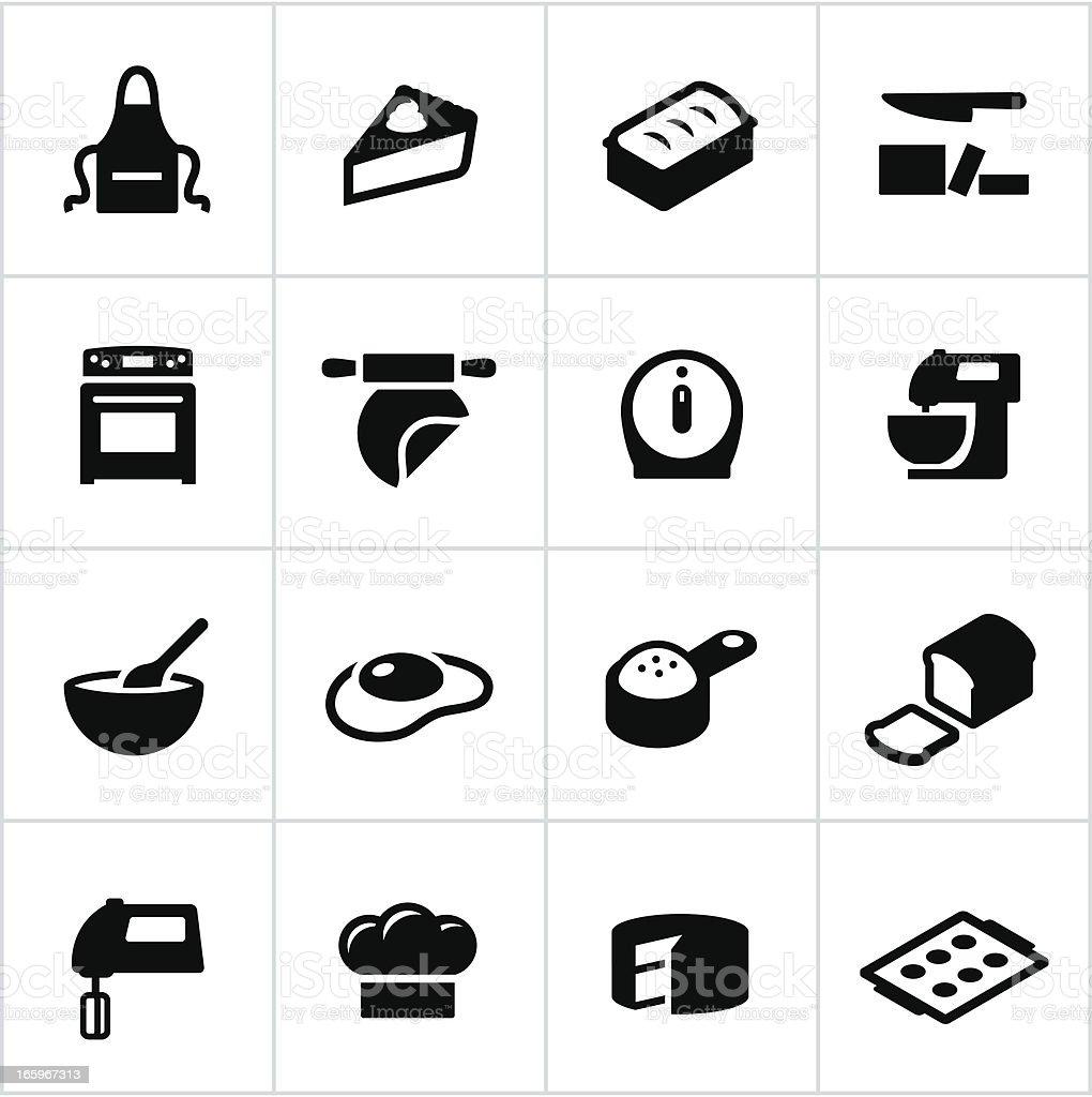 Black Baking Icons vector art illustration
